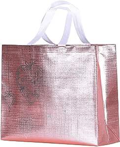 Rumcent Bling 耐用可重复使用的杂货袋手提袋,中号无纺布礼品袋,购物袋,派对袋,20 件套 粉红色