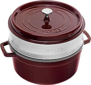 STAUB 珐宝 1133887带有蒸笼的圆形砂锅26厘米 红石榴汁色