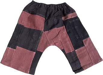 Raan Pah Muang 品牌拼接保暖棉质儿童宽松胯部绗缝长裤