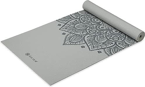 Gaiam 瑜伽垫 - 优质印花 5 毫米厚的锻炼和健身垫,适合所有类型的瑜伽、普拉提和地板锻炼(68 英寸 x 24 英寸 x 5 毫米)