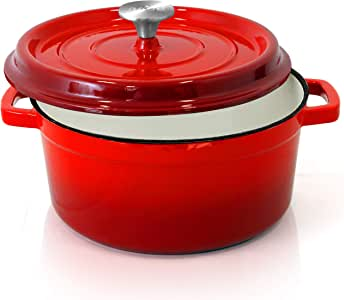 NutriChef 珐琅铸铁荷兰锅 5夸脱/4.75升 圆形炖锅/砂锅 瓷釉涂层铸铁烘焙锅 NCCIEC45(红色)