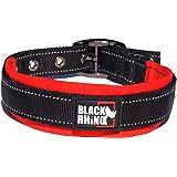 黑色 Rhino–THE COMFORT 项圈超软氯丁橡胶填充狗狗项圈适用于所有犬种–加厚可调节反光防风雨 红色/黑色 中