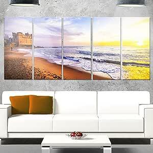 """设计艺术 MT10712-20-12 """"日落上的圣诞老人休息意大利当代海景""""金属壁画,50.80x30.48cm,蓝色 蓝色 60x28"""" - 5 Equal Panels MT10712-401"""
