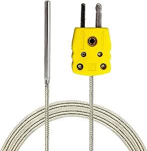 Perfect-Prime K-型传感器探针鳄鱼夹探针,适用于 K-型探头热情耦合器和温度范围从*高 1000 °C 灰色 TL1004