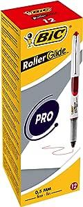 BIC Liquidink-Roller Roller Glide PRO 系列,含盖子,可再次填充,12 件装 0.5 mm 红色