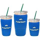 3 个装可重复使用的冰咖啡套 | 冷饮料隔热杯套 | 氯丁橡胶杯架 | 适用于星巴斯、麦克唐纳斯、邓肯甜甜圈等 蓝色 18 oz Small, 24 oz Medium, 32 oz Large
