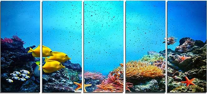 水下景景 - 海景摄影金属墙艺术 28'' Hx60'' Wx1'' D 5PE MT7218-401