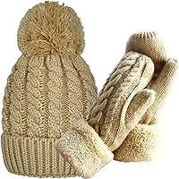 女式冬季手套保暖衬里 - 舒适羊毛针织厚手套 9 种颜色