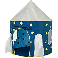 FoxPrint 火箭飞船帐篷——太空主题角色扮演帐篷,太空游戏之家,儿童太空飞船帐篷,可折叠的弹出式蓝色星星游戏帐篷