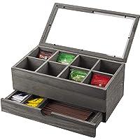 MyGift 8 槽复古灰色茶袋收纳盒带透明盖和抽屉