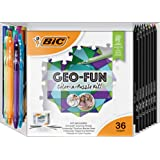 BIC KGFP36-AST GEO-FUN Color-a-Puzzle 活动套装,颜色,36 个,混色