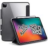 TineeOwl 摩卡 - iPad Pro 11(2020,*二代),超薄透明保护套带铅笔支架+三折支架保护套,支持苹…