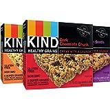 KIND 格兰诺拉麦片健康谷物棒,什锦混装,黑巧克力块,花生酱黑巧克力,枫糖南瓜籽海盐,无麸质,1.2盎司/35克,15支