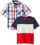 U.S. Polo Assn. 男童短袖针织 T 恤套装 Red Multi Plaid 5/6