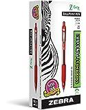 Zebra Pen Z-Grip 可伸缩圆珠笔,中点,1.0mm 12 件装 红色
