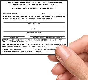 25 件装年度车辆检查标签 - 自动层压 - 12.7 厘米 x 10.16 厘米 - 符合 DOT AVIR 要求 49 CFR 396.17(c)(2) - Briston