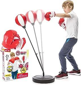 Whoobli 儿童拳击袋,包括拳击手套 | 3-8 岁可调节儿童吊带支架 | 拳击袋套装男孩和女孩玩具