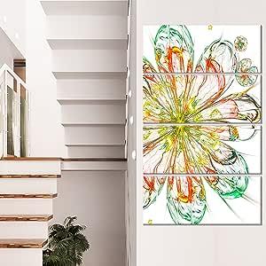 """设计艺术 MT12144-12-20 红色绿色花卉金属墙壁艺术 12X20 绿色 28x48"""" - 4 Equal Panels MT12144-271V"""
