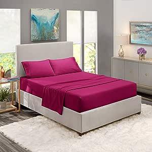 Nestl 床上用品套装 - 1800 个深口袋床单套装 - 酒店豪华双磨毛超细纤维床单 - 深口袋床笠、床单、枕套 Vivacious Magenta 全 XL Nestl-18-3LN-FXL-Magenta-FBA-MX