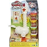 Play-Doh 动物船员 Cluck-A-Dee 羽毛趣味小鸡玩具农场动物玩具套装,4 种*颜色