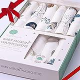 Bamboo 棉布婴儿浴巾 | *棉面巾 | 婴儿湿巾 | 新生儿和敏感肌肤的柔软浴巾 | 婴儿注册送礼佳品 | 6 件装 | 超大号 Feathers