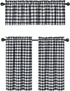 GoodGram 3 件装。 Plaid Country 别致棉质混合厨房窗帘层和帷幔套装 - 各种颜色 *蓝 B01N0N5AHL