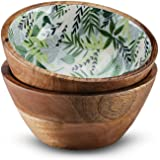 15.24 cm 木制沙拉碗、巴西莓果碗或环保碗 2 件套 *热带 6 X 3 Inches FKWSB11