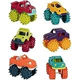 Battat 迷你怪物卡车 - 6 个小卡车套装储物袋中学步儿童玩具车,适合 2 年以上儿童