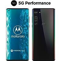 "motorola edge Dual-SIM 智能手机(5G,6.7""-FHD+无限边缘显示屏,64-MP三路摄像头,25-MP相机,128 GB/6 GB,Android 10)黑色包括保护盖+耳机[亚马逊*销售]"