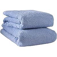 hiorie 日本毛巾自然水洗快速干燥 - 2 件套浴巾套装 酒店蓝