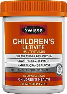 SWISSE 儿童Ultivite每日综合维生素,橙味 适合2-12岁的儿童| 120粒咀嚼片