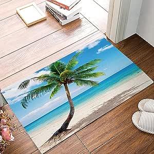 OneHoney 热带棕榈树门垫欢迎垫入口垫室内/室外门垫 地板垫 浴垫 Sea Palm Trees 20 x 31.5 inch 180205ZXQDMT4