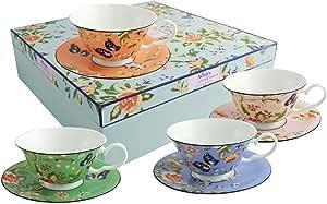 Belleek Cottage 花园风雪茶杯和碟子,多色