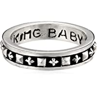 King Baby Men's Stackable Studded Ring with MB Crosses