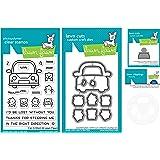 草坪草坪汽车动物3x4透明印章套装,配套模具,车轮加装模具和模板(LF2338,LF2339,LF2340,LF2341)