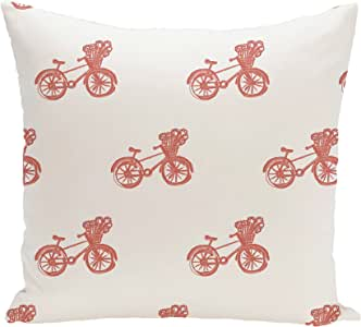 E By Design Bicycles! Geometric Print Pillow, 18-Inch Length, Seed