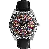 Peugeot 女式万花筒手表带水晶表圈和白色皮革表带