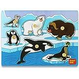 Smart Kids - 木制拼图适合幼儿 - 幼儿拼图套装北极动物 - 厚木制结构带大旋钮和硬盒 - 6 块装