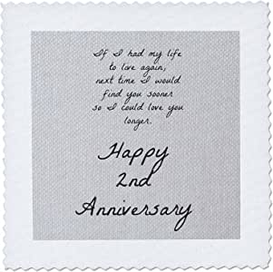 3dRose 2Nd Anniversary I Could Love You Longer on Faux Cotton-Like Background - Quilt Square, 10 by 10-Inch (qs_221893_1)
