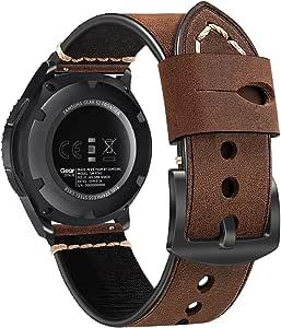 22 毫米表带,Fintie 复古牛皮真皮替换表带腕带,适用于 Samsung Galaxy 手表 46mm / Gear S3 Frontier/Classic 和 22mm 表耳宽度手表AOWE023US  咖啡色