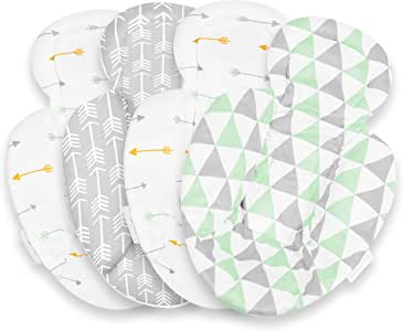 婴儿枕芯 兼容 4Moms Mamaroo 和 Rockaroo – 汽车座椅垫 2 件装 – 双面婴儿汽车座椅垫 – Rockaroo 和 Mamaroo 新生儿垫 – 柔软毛绒 Minky 汽车座椅头部支撑垫