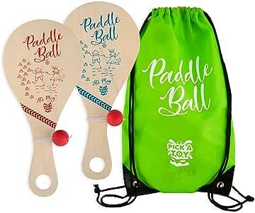 木制桨球玩具(2 件套)带携带袋 - 室内户外玩具:有趣经典的桨球游戏,适合男孩和女孩,派对喜爱玩具,适合 4 岁以上儿童