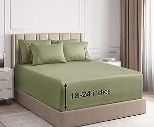 CGK Unlimited 超深口袋床单 - 7 件床单套装 - 分离式大号双人床床单 深口袋 - 超深床单 - 53.34 厘米深口袋 淡*(Sage Green) 两个