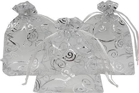 Ankirol 100 个透明硬纱礼品袋 适合婚礼婴儿淋浴藤打印礼品袋 样品展示抽绳袋 银色 3.5x4.5