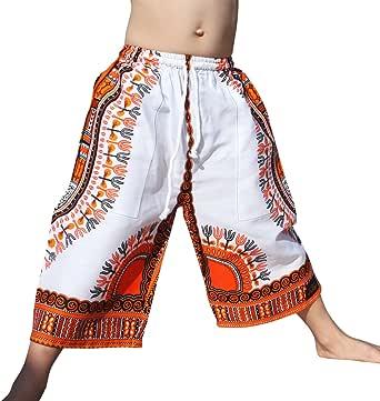 Raan Pah Muang Childs Dashiki 裤子口袋宽松白色短裤弹性腰带