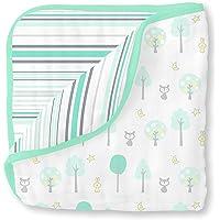 SwaddleDesigns 4 层棉纱毛毯,拥抱入梦、森林和条纹图案 Sea*
