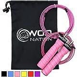 WOD Nation Attack Speed 跳绳 - 可调跳绳 - 独特的 2 根电缆跳过锻炼系统 - 1 根重 1…