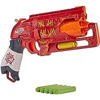 NERF 热火 僵尸射击游戏枪——回拉锤爆击动作,5个官方僵尸攻击飞镖,红色
