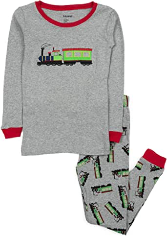 Leveret Boys Train 2 Piece Pajama 100% Cotton (Size 12M-14 Years)