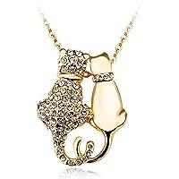 Juliani 18k 镀玫瑰金 双猫吊坠项链 - 低*性 4 克拉奥地利水晶钻石 - 链式首饰猫宠物爱好者 - 女士女孩 - 儿童青少年